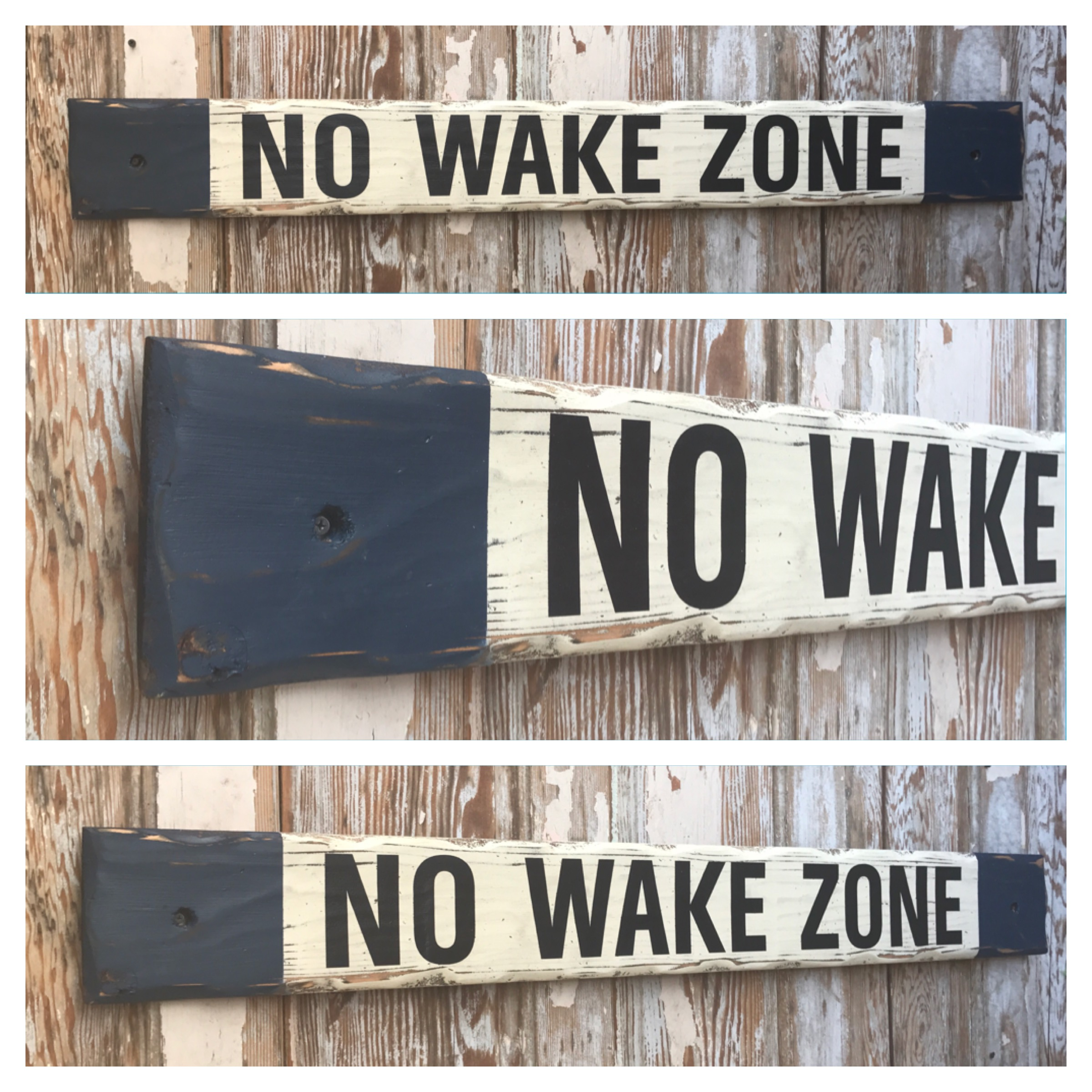 No Wake Zone 4 Ft Long Wood Sign Distressed Sign Great