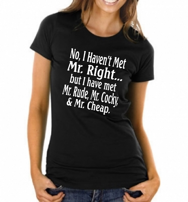 54e51851 No I Haven't Met Mr. Right... But I Have Met Mr. Rude, Mr. Cocky, and Mr.  Cheap. Ladies Fitted T-Shirt Funny sayings on t-shirts