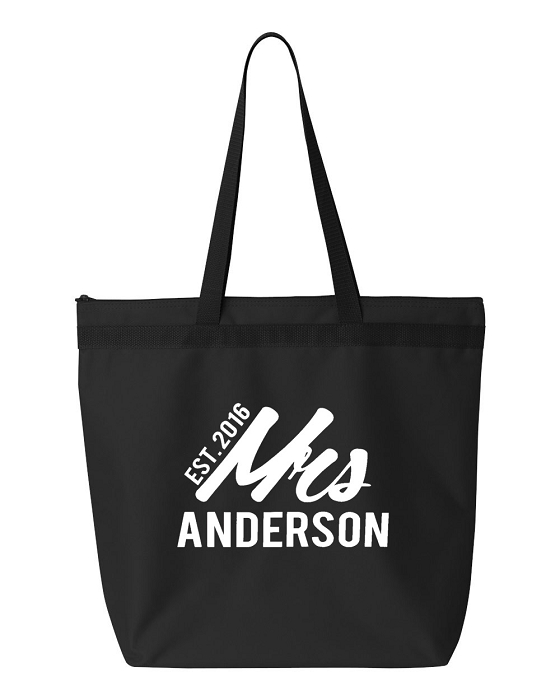 personalized mrs with year est tote bag perfect for the bride or