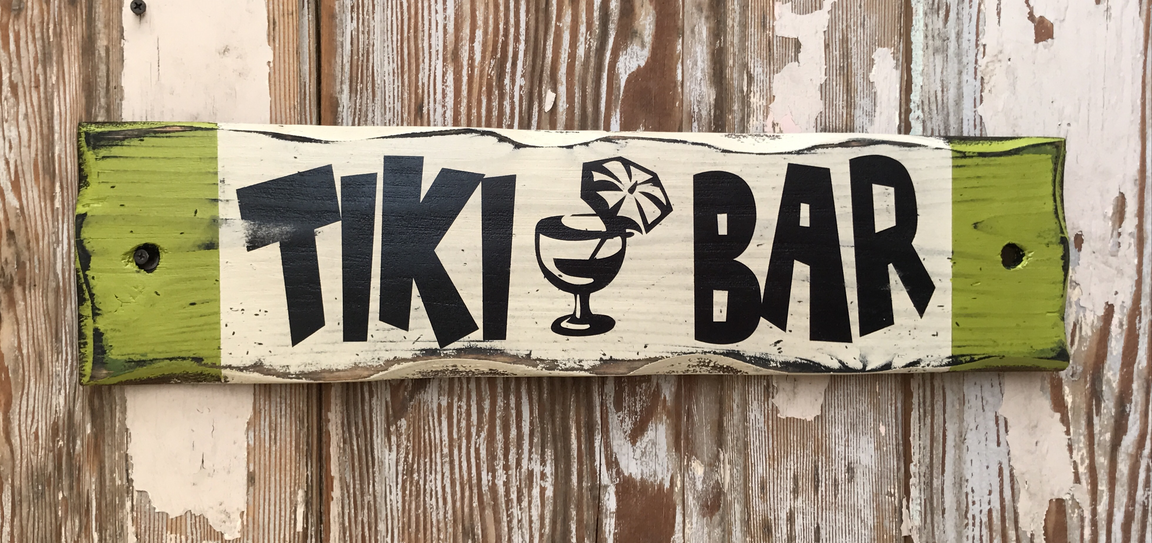 Tiki Bar Rustic Wood Sign