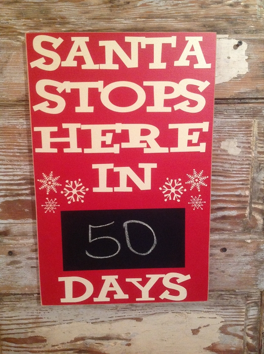 Countdown To Christmas Sign.Santa Stops Here In Countdown To Christmas Days Wood Sign