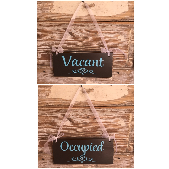 Awesome Occupied Vacant Double Sided Bathroom Sign 12 Long X 5 5 Wide Sign Home Interior And Landscaping Elinuenasavecom