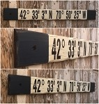 Custom GPS Coordinates Only Sign.  Rustic 4 Foot Long Wood Sign.