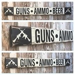 Guns, Ammo, Beer.  Rustic 4 Foot Long Wood Sign