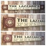 Custom GPS Coordinates With Family Name Sign.  Rustic 4 Foot Long Wood Sign.
