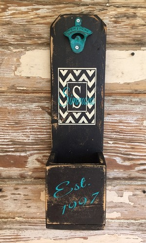 personalized beer bottle opener in chevron pattern initial last name and year established. Black Bedroom Furniture Sets. Home Design Ideas