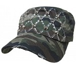 Bling Hat with Diamond Pattern Embellishments in Camo