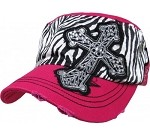 Bling Hat with Cross Embellishment and Black & White Zebra Print in Hot Pink