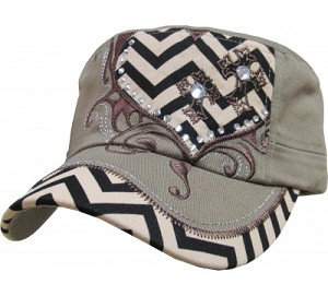 Bling Hat with Black and White Chevron Heart Embellishment in Khaki