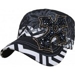 Bling Hat with Cross Embellishments in Black with Chevron Pattern