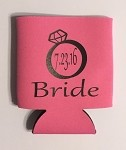 Bride With Wedding Date.  Collapsible Can Cooler / Coozie