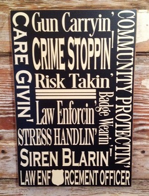 Police Officer Subway Sign.  Wood Sign