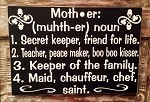 Definition Of A Mother.  Wood Sign