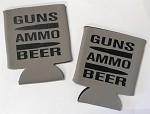 Guns, Ammo, Beer.  Collapsible Can Cooler / Coozie