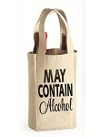 May Contain Alcohol.  Double Bottle Wine Tote