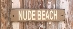 Nude Beach.  Rustic Wood Sign
