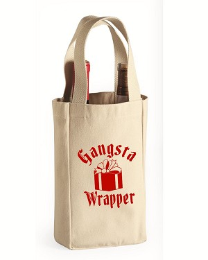 Gangsta Wrapper.  Double Bottle Wine Tote