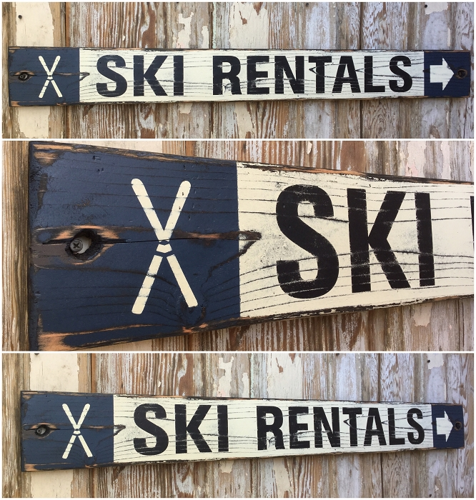 Ski Rentals.  Rustic 4 Foot Long Wood Sign