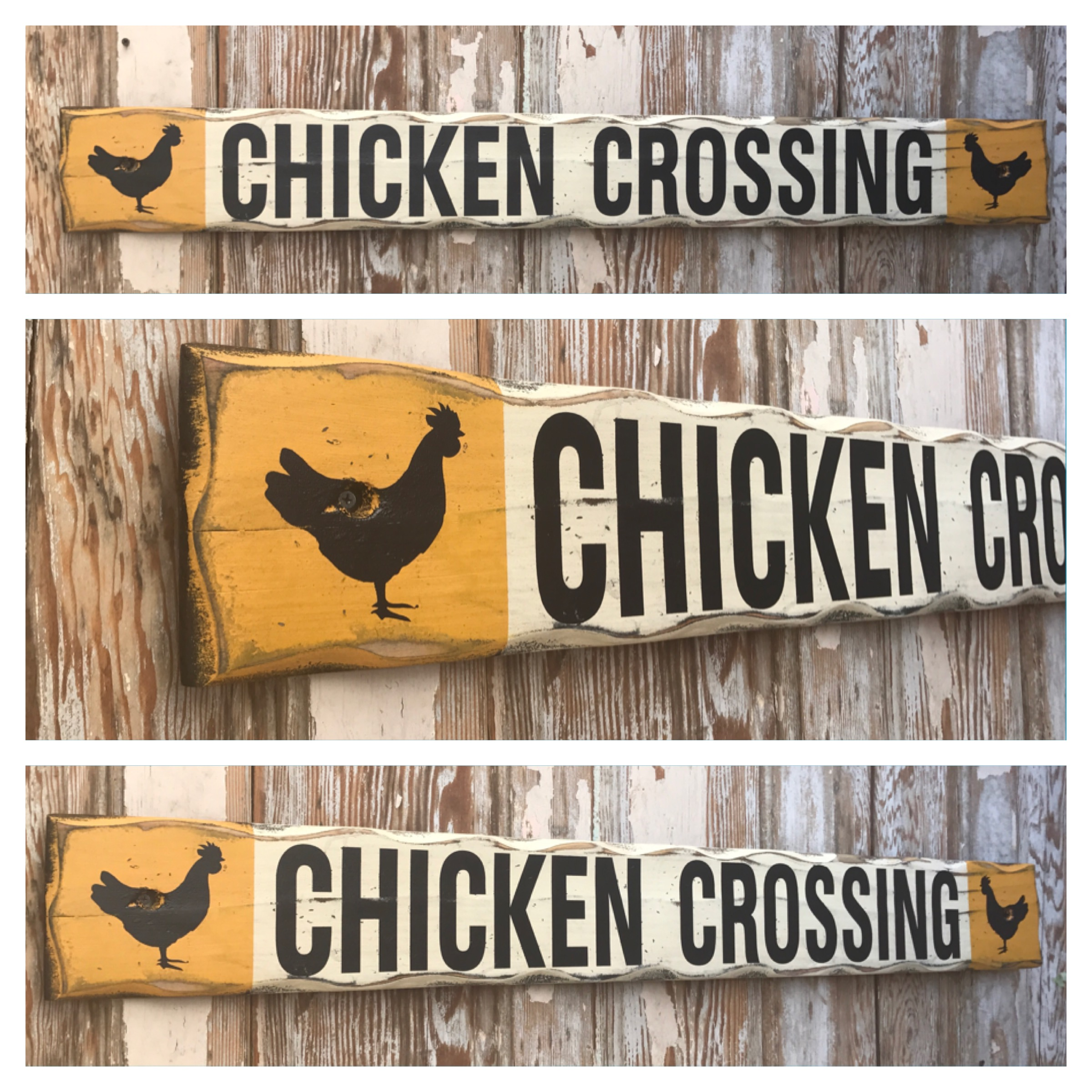 Chicken Crossing.  Rustic 4 Foot Long Wood Sign