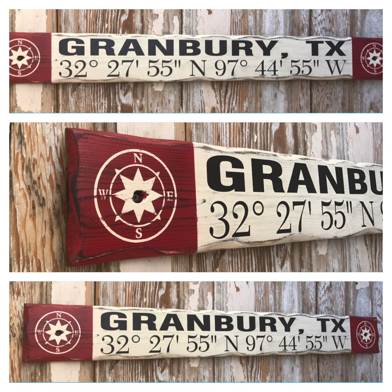 Custom GPS Coordinates With Town and State.  Rustic 4 Foot Long Wood Sign.