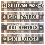 Set of 4 Personalized 4 Ft. Rustic Style Ski Signs