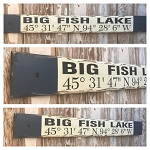 Custom GPS Coordinates Sign with Lake Name.  Rustic 4 Foot Long Wood Sign.
