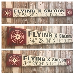Custom GPS Coordinates With Bar / Saloon Name.  Rustic 4 Foot Long Wood Sign.