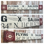 Flying X Saloon With Coordinates.  Rustic 4 Foot Long Wood Sign.