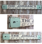 Personalized Family Name With Custom GPS Coordinates Sign.  Rustic 4 Foot Long Wood Sign.