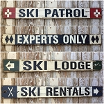 Set of 4 - 4 Ft. Rustic Style Ski Signs