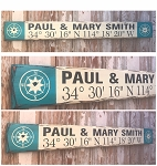 Custom GPS Coordinates Sign with Couple's Names.  Rustic 4 Foot Long Wood Sign.