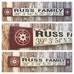 Custom GPS Coordinates With Family Name.  Rustic 4 Foot Long Wood Sign.
