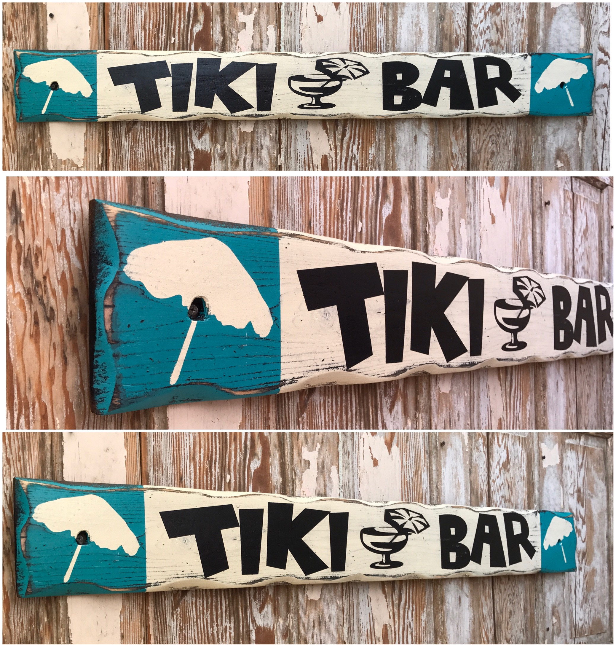 Tiki Bar.  Rustic 4 Foot Long Wood Sign