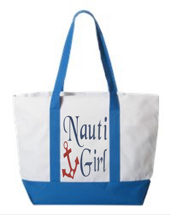 Nauti Girl.  Zipper Tote Bag