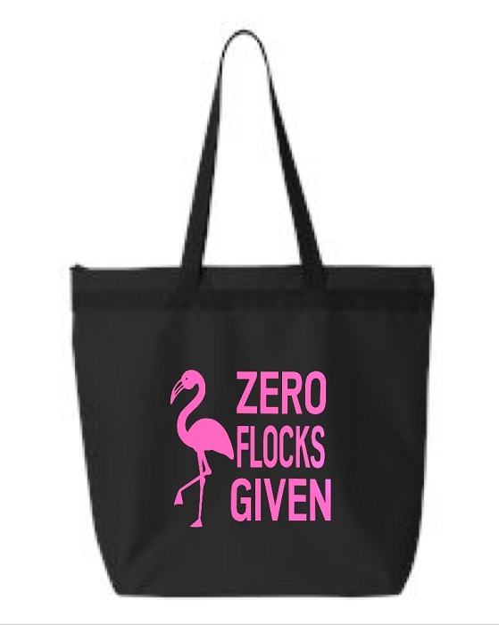 Zero Flocks Given.  Zipper Tote Bag