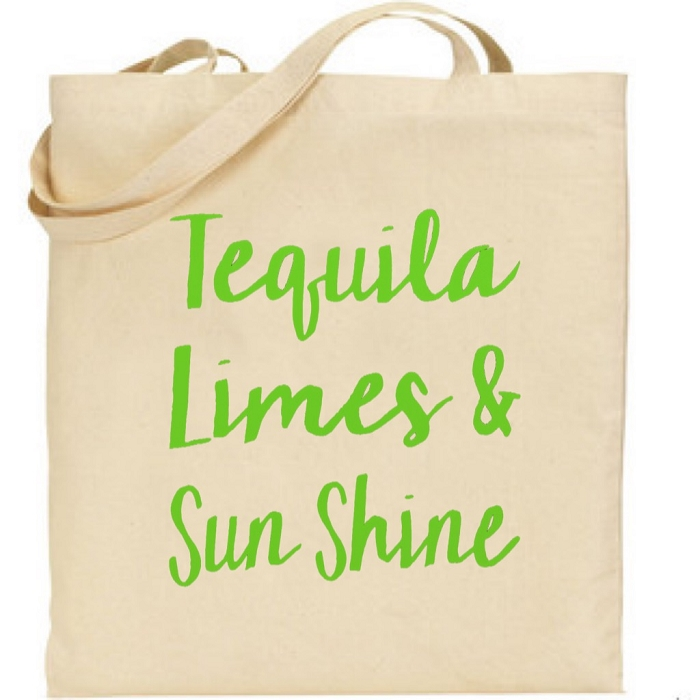 Tequila, Limes & Sun Shine.  Canvas Tote Bag