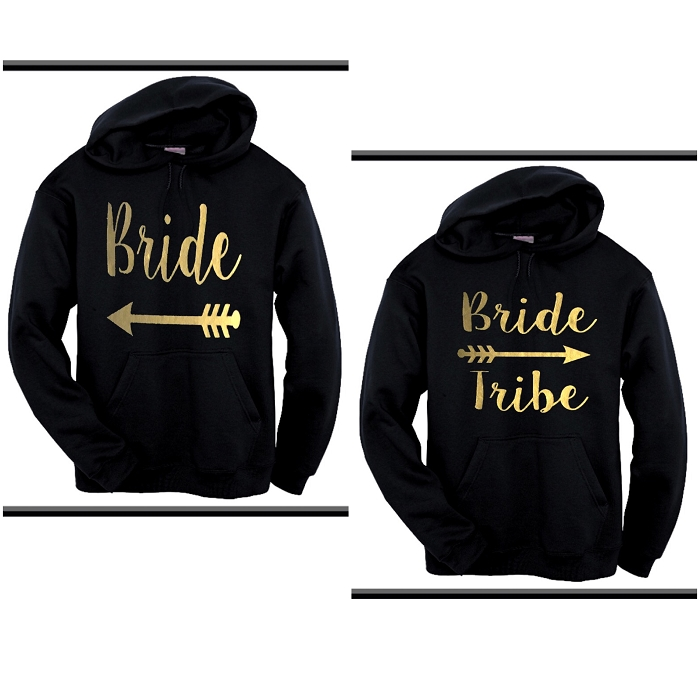 Bride & Bride Tribe.  Matching Bridal Party Hoodies