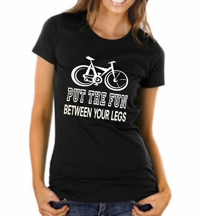 Put The Fun Between Your Legs.  Ladies Fitted T-Shirt