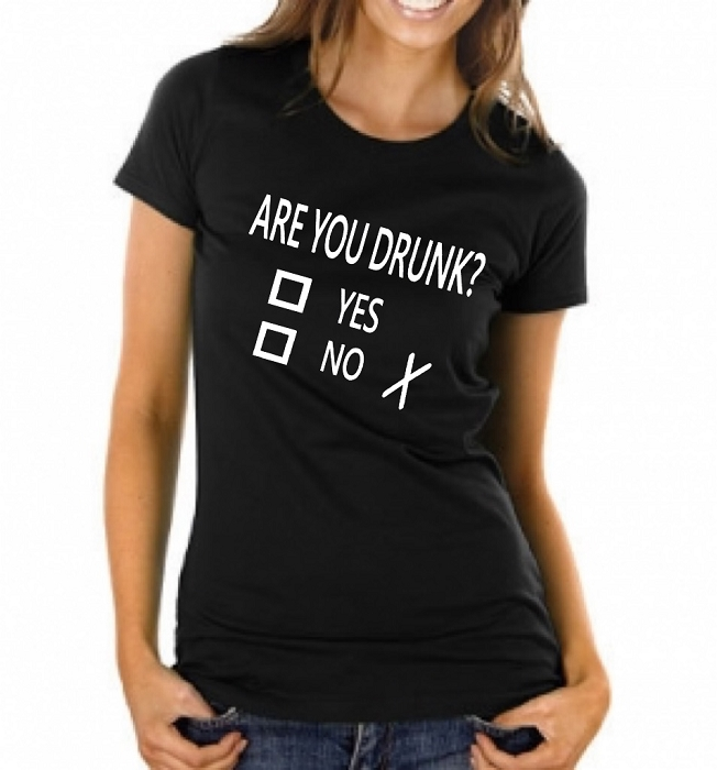 Are You Drunk?  Yes or No.  Ladies Fitted T-Shirt
