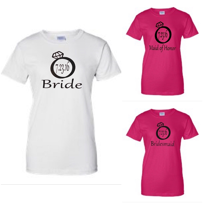 Bride, Maid of Honor & Bridesmaid with Wedding Date In Diamond Ring.  Matching Bridal Party Ladies Fit T-Shirts