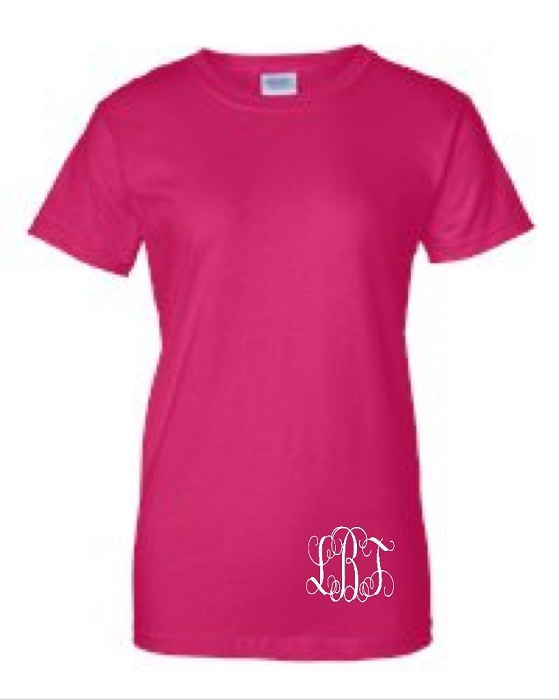 Monogrammed Ladies Fit T-Shirt with Monogram on Bottom Left