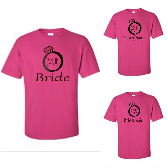 Bride, Maid of Honor, & Bridesmaid with Wedding Date In Diamond Ring.  Matching Wedding Party Men's Universal Fit T-Shirt