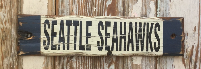 Seattle Seahawks.  Rustic Wood Sign