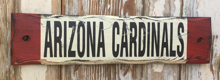 Arizona Cardinals.  Rustic Wood Sign