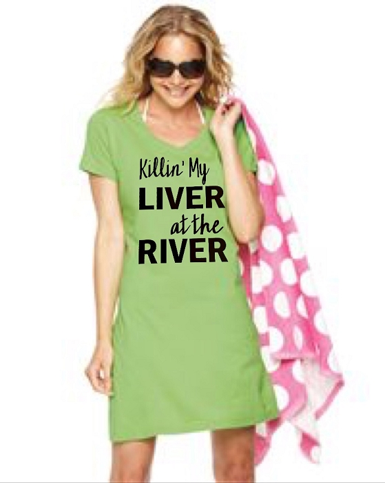 Killin' My Liver At The River.  V-Neck Swim Suit Cover Up