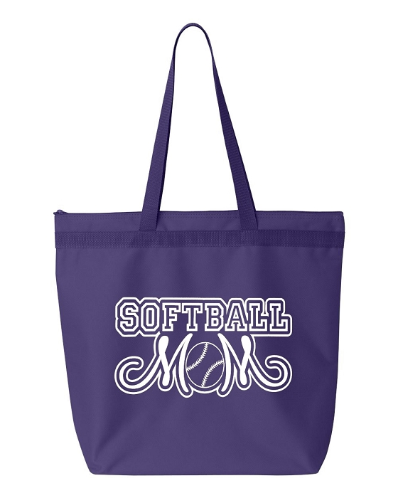 Softball Mom.  Zipper Tote Bag
