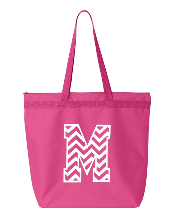 Chevron Pattern Monogrammed Tote Bag