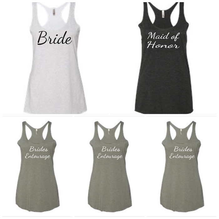 Bride, Maid of Honor, & Brides Entourage Ladies Racer Back Tank Tops