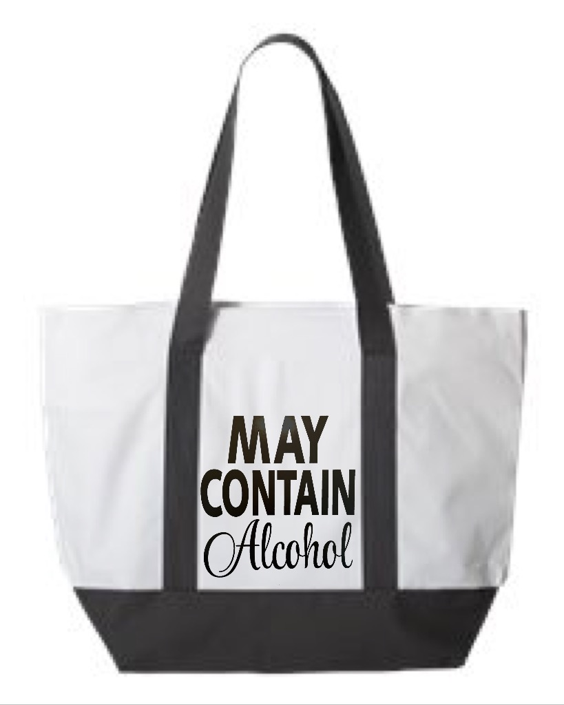 May Contain Alcohol.  Zipper Tote Bag