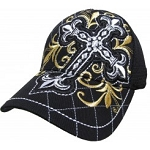 Bling Hat with Cross Embellishments in Black